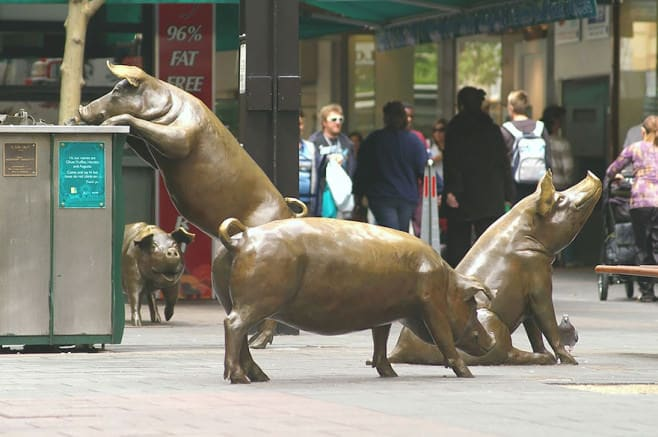 Rundle Mall Pigs, Adelaide, Australia