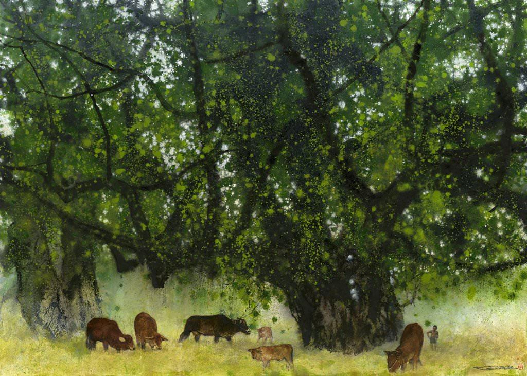 林順雄 -牧童與牛 -水性媒材│ 79×110cm │ 2015 (首都藝術中心 )%2F Sun LIN -Cows and Boy Shepherd -Water Color │ 79×110cm │2015 (Capital Art Center).jpg